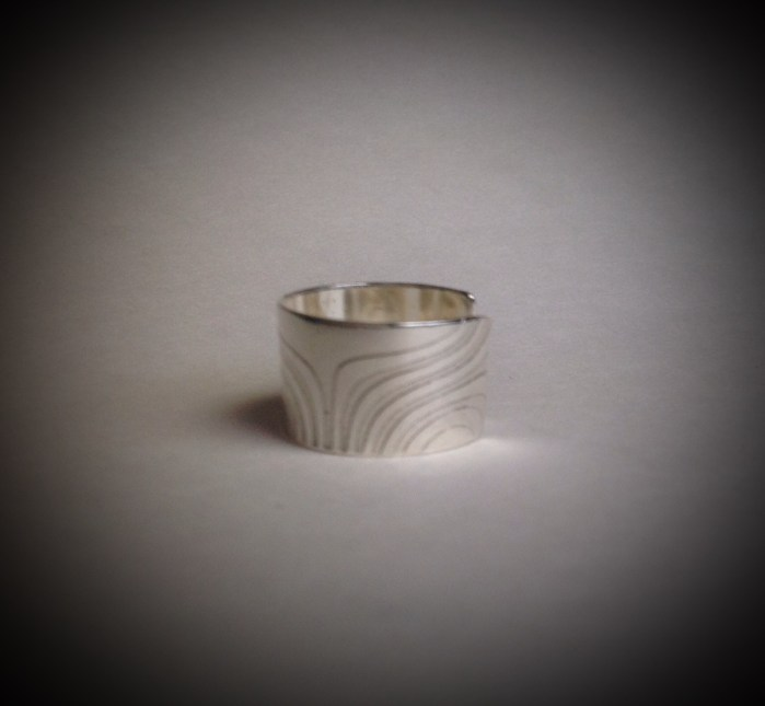 "Argentium- ""New Waves"" Ring Size 7 1/2 & 2 1/2"