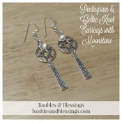 Pentagram & Celtic Knot Earrings with Moonstone