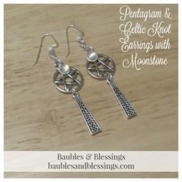 Pentagram & Celtic Knot Earrings with Moonstone