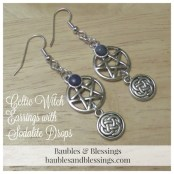 Celtic Witch Earrings with Sodalite Drops