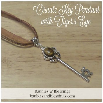 Ornate Key Pendant with Tiger's Eye