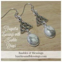 Triquetra Earrings with Howlite Drops