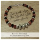 Bracelet with Agate, Glass Crystals & Matte Silver Spacers