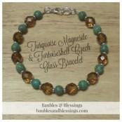 Turquoise Magnesite & Tortoiseshell Czech Glass Bracelet