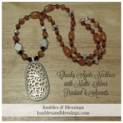 Chunky Agate Necklace with Matte Silver Floral Pendant & Accents