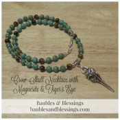 Crow Skull Necklace for Morrighan with Magnesite & Tiger's Eye