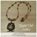 Crystal Owl Necklace with Czech Glass, Carnelian, Tiger's Eye & Carved Citrine Leaves