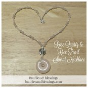 Rose Quartz & Rice Pearl Spiral Necklace