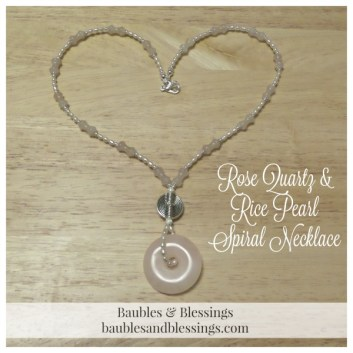 Rose Quartz & Rice Pearl Spiral Necklace