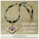 Custom Sailor Moon Necklace for Victoria with Moonstone, Citrine, Carnelian, Rose Quartz, Amethyst, Obsidian, Lapis, Aventurine, Magnesite & Sodalite