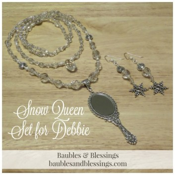 Snow Queen Necklace & Earrings with Czech Glass, Glass Crystals, Clear Quartz & Real Mirror Pendant