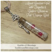Mixed Gemstone Vial with Triquetra & Goddess Charms on Pink Organza Cord