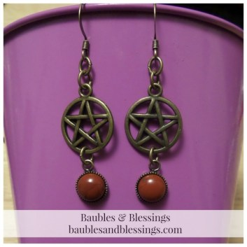 Bronze Pentagram Earrings with Red Jasper Cabochons