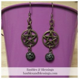 Bronze Pentagram Earrings with Snowflake Obsidian Cabochons