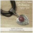 Mystic Heart Pendant with Rhodonite on Organza Cord