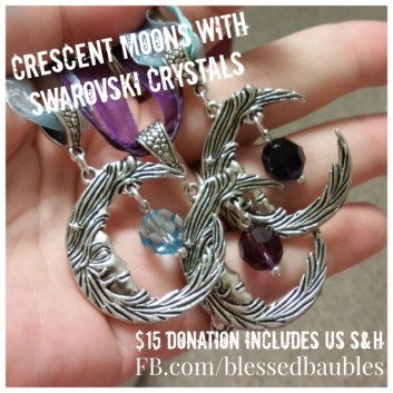 Crescent Moon Necklaces with Swarovski Crystals