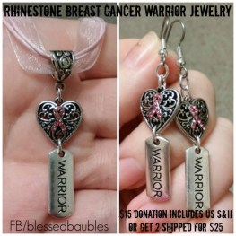 Rhinestone Breast Cancer Warrior Jewelry
