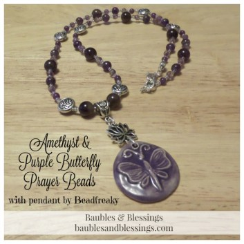 Amethyst & Purple Butterfly Prayer Beads