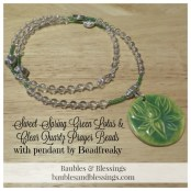 Sweet Spring Green Lotus & Clear Quartz Prayer Beads