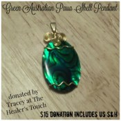 Wire-wrapped Paua Shell Pendant by The Healer's Touch