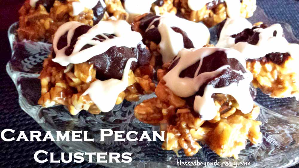 Bite-size caramel pecan clusters are a tiny piece of heaven. Yep. They ...