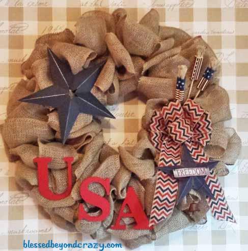 patriotic wreath USA 4th of July