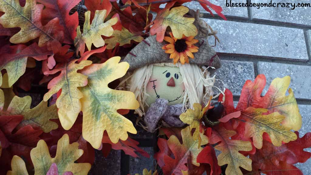 fall wreath with scarcrow