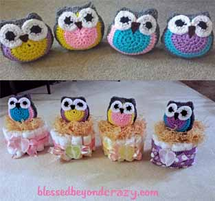 We Wrapped The Diaper Cakes In Baby Themed Ribbon And Added Some Craft  Nesting (similar To Natural Twig Birds Nests), Under Each Owl ...