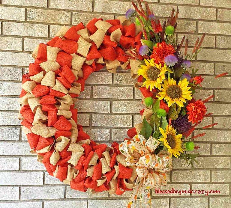DIY Fall Burlap Wreath 3