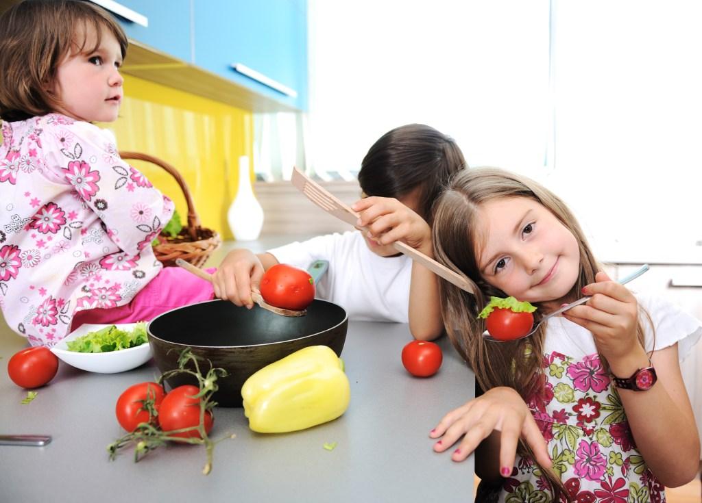 Children alone in the kitchen