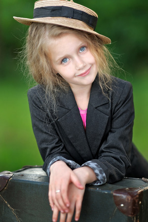 Portrait of little girl outdoors