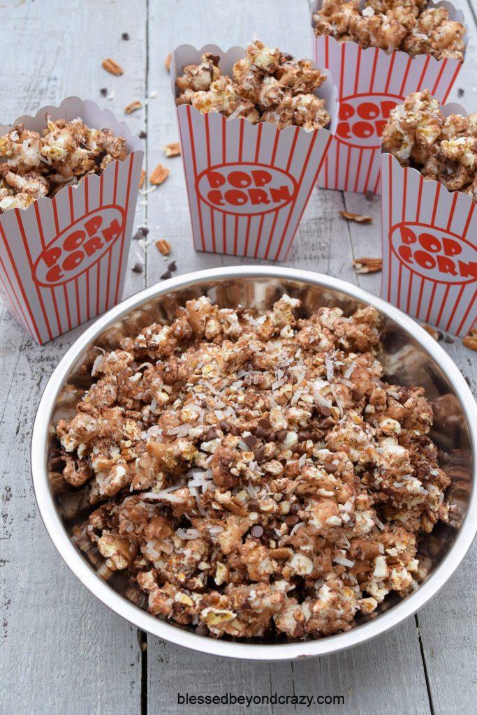 Ready to serve SkinnyPop German Chocolate Caramel Popcorn