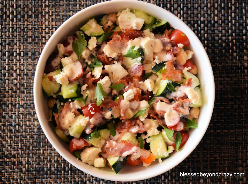 Gluten-Free Veggie Bacon Feta Salad with fresh herb
