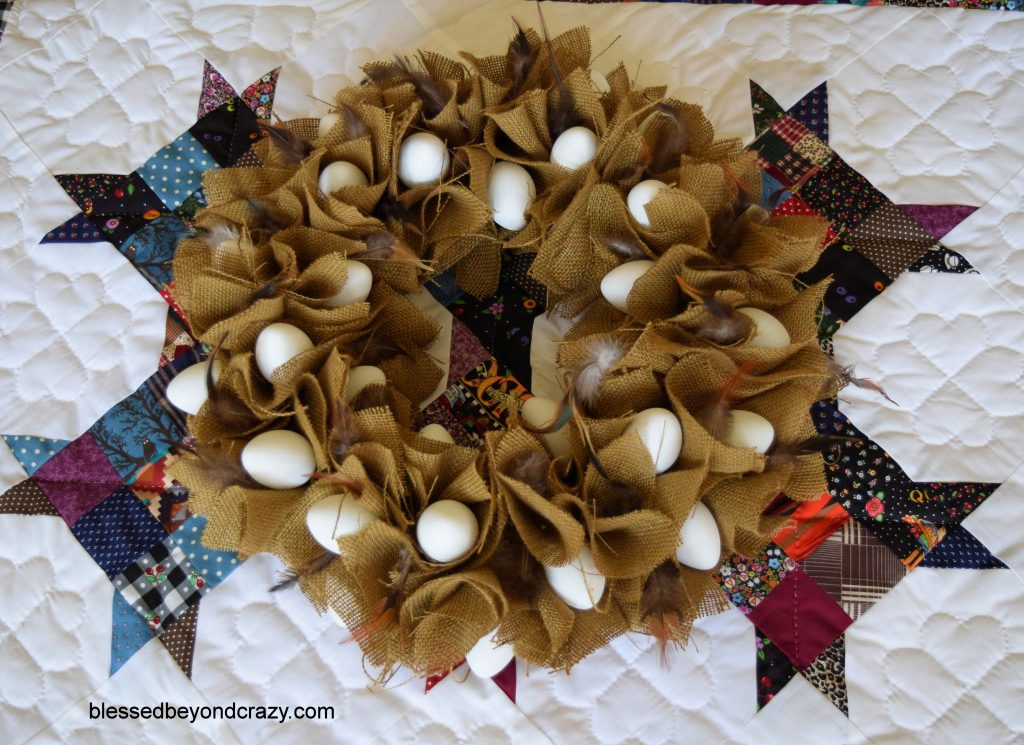 DIY No-Sew Rustic Farmhouse Burlap Eggy Centerpiece