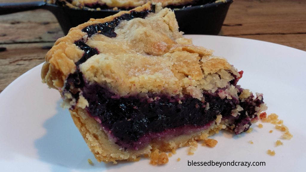 Rustic Cast Iron Skillet Blueberry Pie