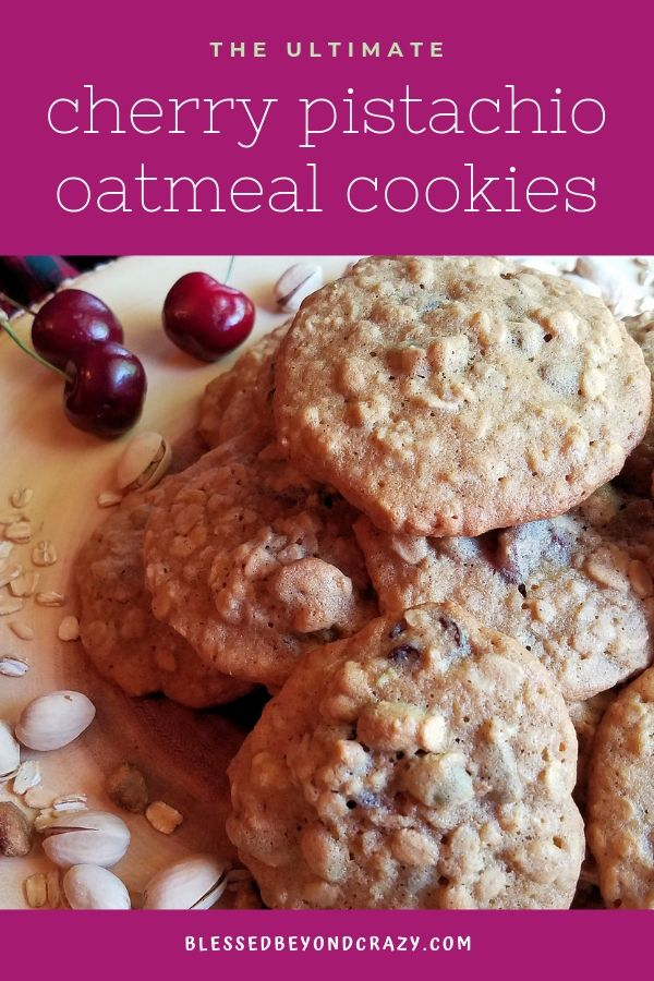 Cherry Pistachio Oatmeal Cookies for Pinterest