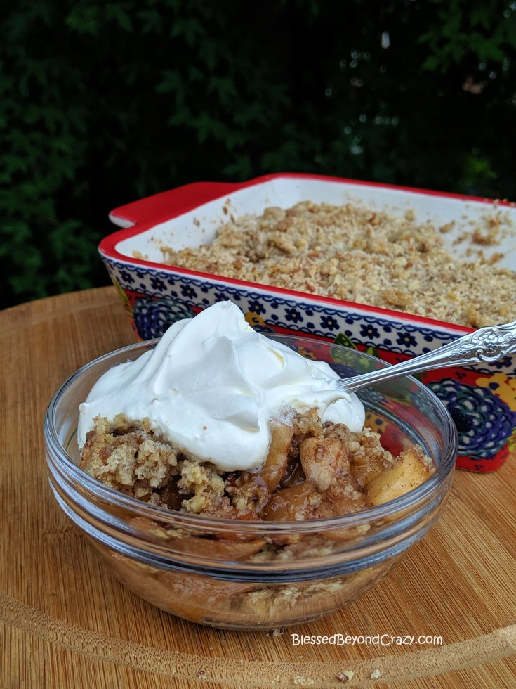 A serving of Cinnamon Apple Pecan Crumble.