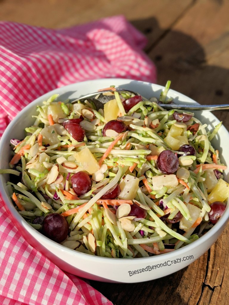 Easy Broccoli Slaw with Homemade Poppy Seed Dressing is the perfect take-along side dish.