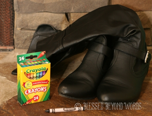 use crayon to hide scuffed up shoes