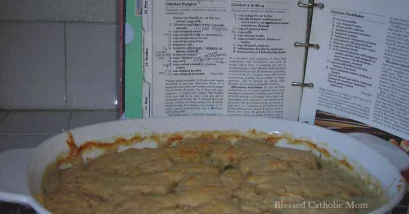 Plan meals so you know what to make each night. Image of a chicken potpie dish with recipe in the background.