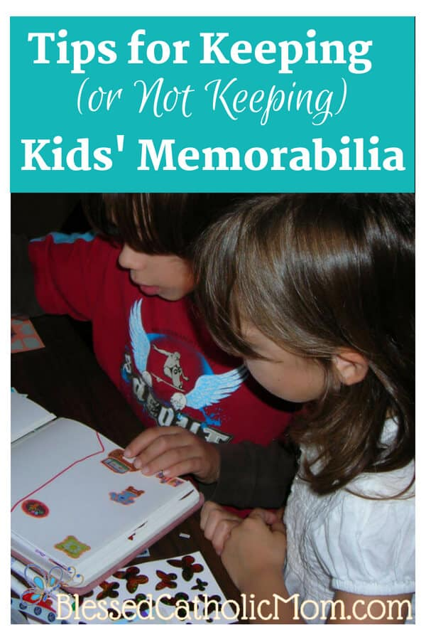 Tips for Keeping (or not Keeping) kids' memorabilia. Image of two children making a scrapbook page.