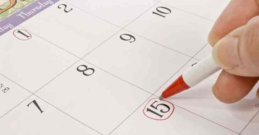 Here are tips to make family dinners happen and enjoyable. Create a special time together to have fun, learn more about each other, and plan together. For the plans you make, pick a date and put them on the calendar. Image of a red pen circling a date on the calendar.