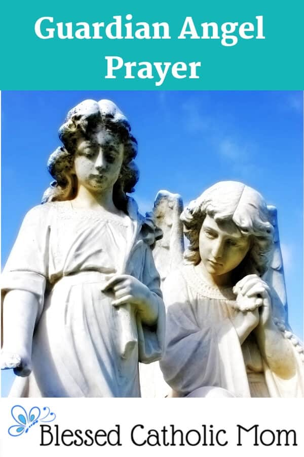 When we pray the Guardian Angel Prayer, we acknowledge that God has given us the gift of a Guardian Angel and we ask our Angel to help and protect us.  Image of two statues-a Guardian Angel and a child he is protecting.