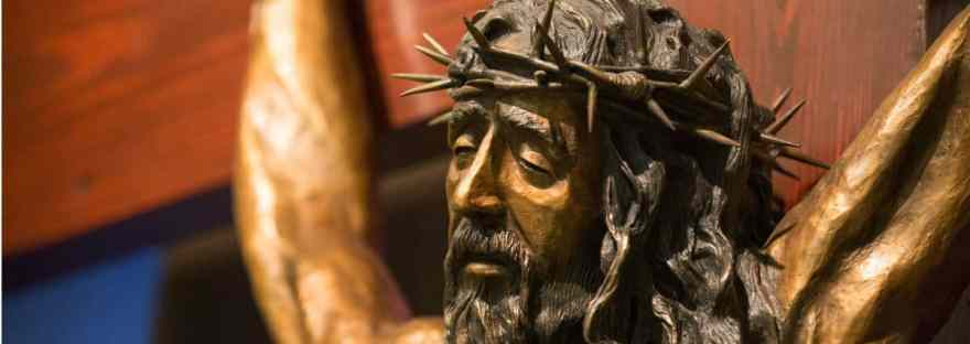 The beautiful Anima Christi prayer dates back to the early 14th century and is often said after Holy Communion. Image of Jesus on the cross with the wound in His side visible. #AnimaChristi