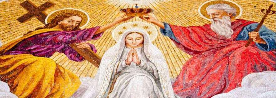 """Do you think of Mary's fiat and wonder if you have the courage to say """"May it be done to me as you say"""" to God? Me, too. Here are some ideas to help you do so. Image of a mosaic of the Blessed Virgin Mary being crowned by the Blessed trinity."""