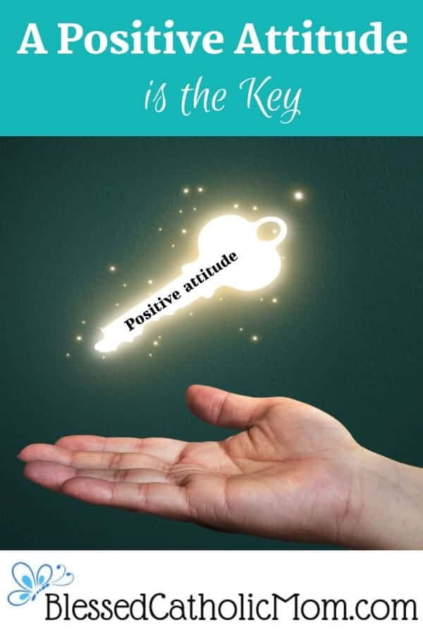 """A positive attitude is the key to having the life we want. Image of glowing key with the words """"positive attitude"""" on it hovering above a hand open and outstretched. #positiveattitude #positiveattitudeiskey"""