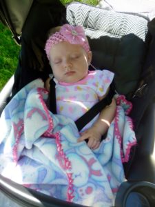 sleeping baby in stroller