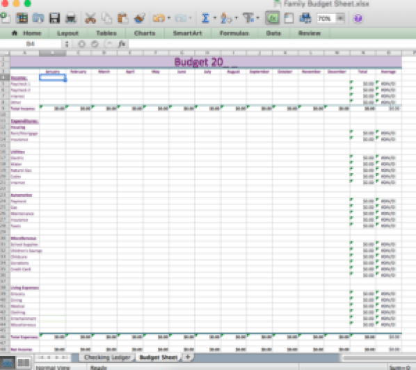 excel document budgeting sheet budget for family finances