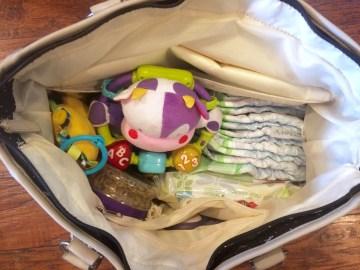 what I pack in my diaper bag