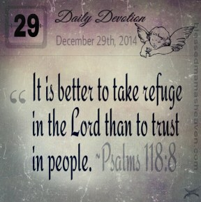 Daily Devotion • December 29th • Psalms 118:8 ~It is better to take refuge in the Lord than to trust in people.